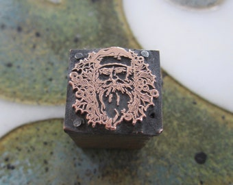 Santa Claus with Holly Antique Letterpress Printing Block