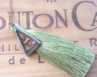 Green Tassel and Buddha Necklace