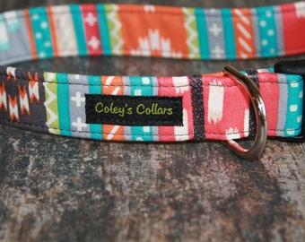 "Dog Collar Aztec, Tribal Dog Collar, Dog Collars, Boy Dog Collar, Girl Dog Collar, Modern Dog Collar, ""The Modern Aztec in Coral"""