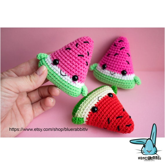 Kawaii Watermelon Slices Amigurumi Crochet Pattern Digital File