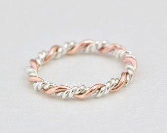Braided Ring, Rose Gold Twist Ring, Stacking Ring, Gold Stack Ring, Rose Gold Ring, Twisted Ring, Stacked Rings, Gift For Her