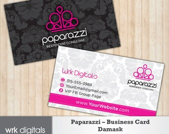 Paparazzi Business Card, Damask Design, Customized Business Card, Direct Sales, Consultant Business Card, Paparazzi Jewelry