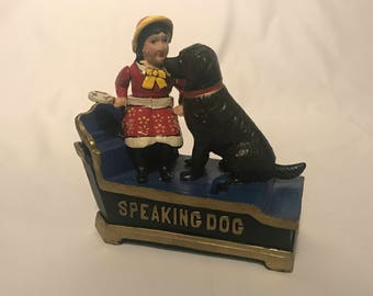 "Cast Iron Bank, Reproduction, Girl with Dog ""Speaking Dog"""