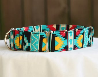 Southwest-Navajo-Aztec-Tribal Stripe-Turquoise Yellow Black Red Martingale-Dog Collar-Pet Collar- Pet Accessories-Supplies-Large Breed Dogs