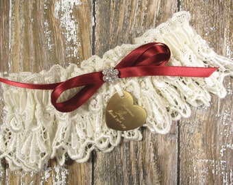 Personalized Wedding Garter in Ivory Lace with a Custom Color Bow, Rhinestones and Engraving
