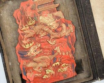 Vintage Temple & Dragons Cinnabar Ink Stick