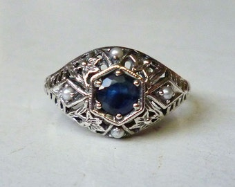 Sapphire and Seed Pearl Antique Style Ring in Sterling Silver size 6  Victorian Edwardian Art Nouveau Engagement Bride September Art Deco
