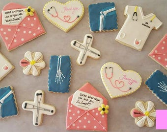Thank You Decorated Iced Cookies Doctor Office Sugar ~ 1/2 or 1 Dozen~Frost Yourself Cookies