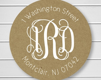 Monogram Return Address with White Ink on Kraft Stickers/Labels/Envelope Seals (#212-KR-WT)