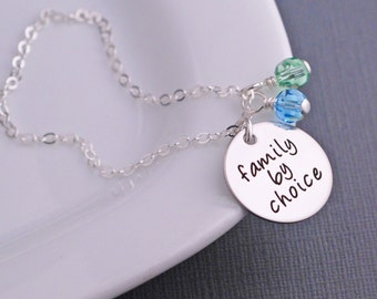 Family By Choice Necklace, Personalized Christmas Adoption Jewelry, Silver Adoption Gift, New Baby Gift