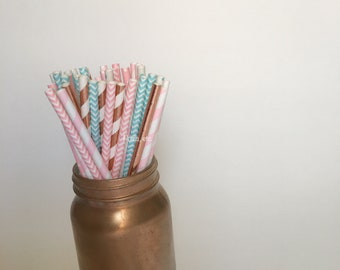 baby Shower paper straw  mix , rose gold, baby blue, pink/ Paper Straws/ Party Straws / party supplies/ rose gold/ gender