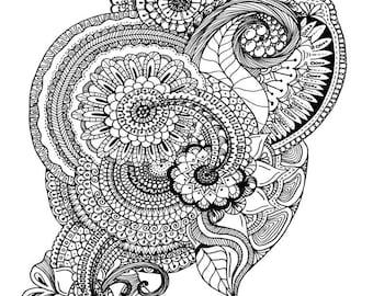 Hidden Garden Adult Coloring Page, INSTANT DOWNLOAD, Zendala Inspired design, Instant PDF Download