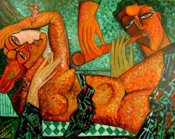 "Family art,Music art,contemporary art, free shipping.""Serenade "".Orange green painting .Size 19.6x27.5 inch (50x70 cm)"