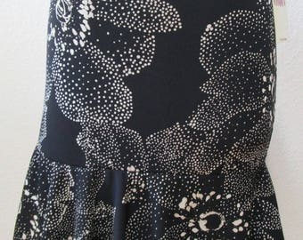 Black color knee length skirt or tube dress for your option with floral print plus made in USA (v18)