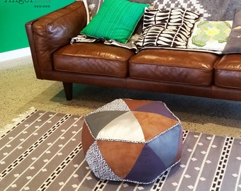 Hexagon Pouf PDF Sewing Pattern Triangle Patchwork Ottoman Pattern