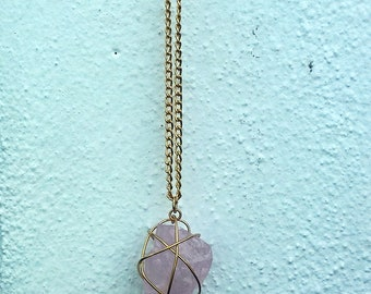 Raw Rose Quartz Stone Pendant Necklace    Mineral Necklace    Wire Wrapped Pendant