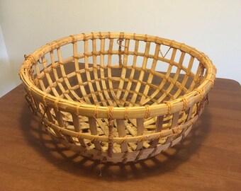 """Vintage Large Indian Woven Bamboo Basket 21"""" Across, Boho Bohemian"""