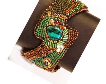 The wave beaded handmade bracelet cuff design Sheri Serafini one of a kind jade cabochon green