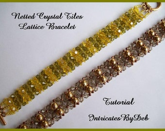 Tutorial Netted Crystal Tiles Lattice Bracelet Beading Pattern, Beadweaving Instructions, PDF, Do It Yourself