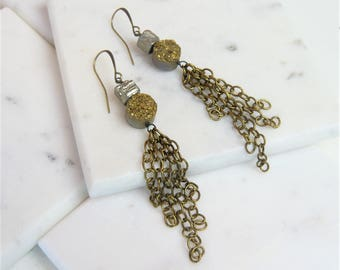 Golden Druzy And Pyrite Antiqued Brass Chain Tassel Earrings