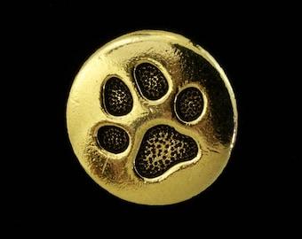 12mm Antique Gold Tierracast Paw Print Button (20 Pcs) #CKB273