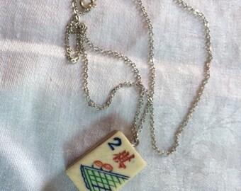 "Bamboo and Bone Vintage Mahjong Tile Pendant ""Four Arts, GO"" on Silver Chain"