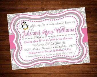 Pink Penguin Printable Baby Shower Invitation