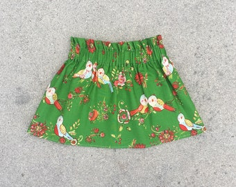 READY TO SHIP, Size 6/12m Skirt, Baby Skirt, High Waisted Skirt, Christmas Skirt, Green Skirt, Bird Skirt, Children's Skirt, Girls Skirt