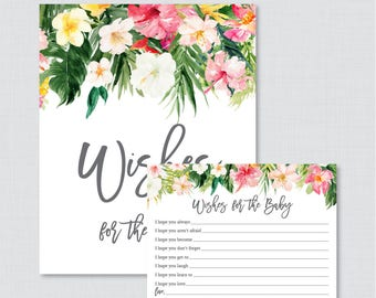 Tropical Wishes for Baby Baby Shower Activity - Printable Well Wishes for Baby Cards and Sign - Instant Download- Hawaiian Lua Flower 0071