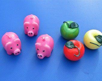 SALE! Apple OR Pig Candles, 6 Pieces