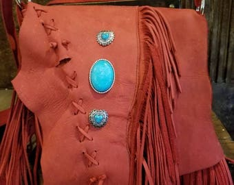 Long Fringed Leather Bag,Handcrafted Deep Red Leather Distressed Fringe Bag,Red Fringed Leather,Leather Bag, Boho Leather,Turquoise Leather