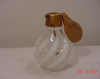 Vintage DeVilbliss Opalescent Swirl Plume / Feather Perfume Atomizer Bottle With Gold Plate Top  17 - 1139