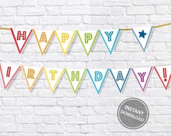 Happy Birthday bunting | Happy Birthday banner  | birthday party banner  | rainbow banner | celebration banner | party decoration