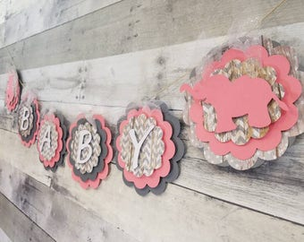 Elephant themed baby shower | Baby banner | Elephant baby Name banner | Pink and grey Elephant banner | Boy or Girl  | Rustic Baby Shower