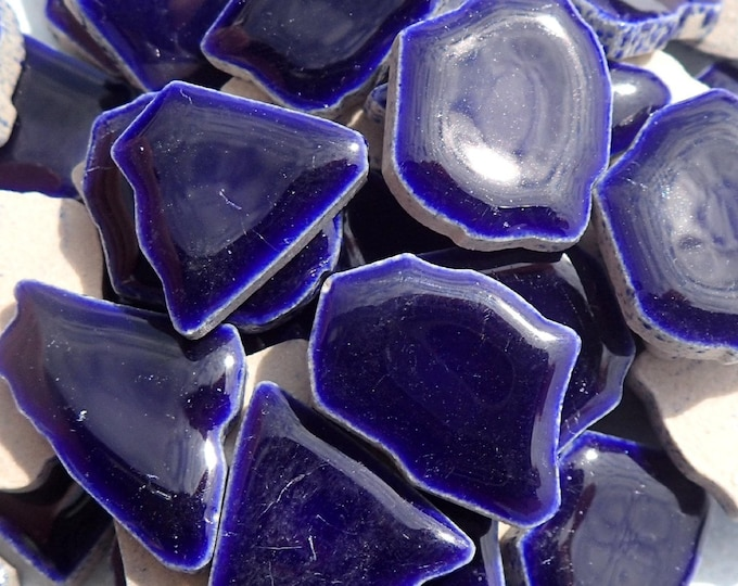Very Dark Blue Mosaic Ceramic Tiles - Jigsaw Puzzle Shaped Pieces - Half Pound - Assorted Sizes Random Shapes - Mosaic Art Supplies - Cobalt