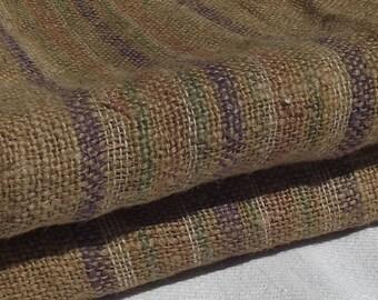 RARE Antique Vintage French Striped Sacking Cloth Hessian Jute Burlap