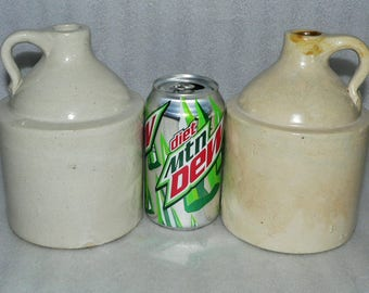 "2 Vintage Matching 1 Quart Stoneware 6.5"" Jugs Liquor Whiskey Red Wing Western"