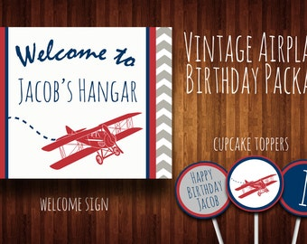 Vintage Airplane Birthday Package - Printable, DIY