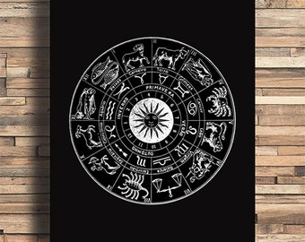 Astrology Chart, Horoscopes, Free Spirit, GypsyTheme, College Dorm Room, Indie, Hipster, Tattoo Design, Giclee Art Print