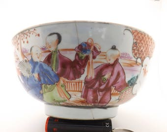 For restoration or display. A beautiful 18th Century hand made Chinese Mandarin type porcelain punch bowl with people in landscape design