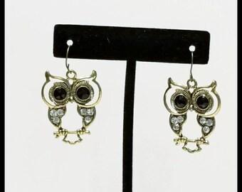 Owl Dangle Earrings, Owl Earrings, Dangle Earrings, Owl Outline Earrings, Free Shipping