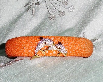 "GENUINE Exotic Stingray Orange Leather, Swarovski Crystal Twin Dolphins, Bendable 7 1/2"" Cuff Bracelet"