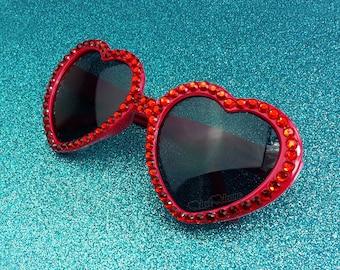 RUBY Red Heart Sunglasses, Lolita Sunglasses, Red Sunglasses, Bling Sunglasses, Heart Shaped Glasses, Womens Sunglasses, Rockabilly Pin Up