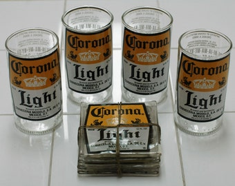 YAVA Glass - Recycled Corona Light Glass and Coaster (Sets of 4)