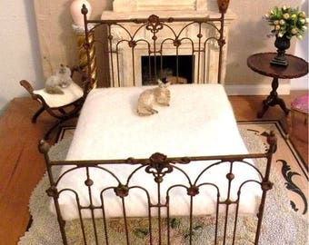 """Artisan Made Dollhouse Miniature Wrought Iron Look Bed """"TESSA"""" 1:12 Scale Twin and Full, Half Scale"""