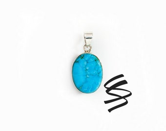 Turquoise Pendant Silver Necklace Turquoise Jewelry Native American Jewelry Gift For Her Bohemian Jewelry Silver Jewelry Sterling Silver