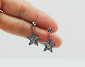 Turkish Evil Eye, Star Evil Eye Turquoise Gemstone ,White Clear Cubic Zirconia , 925k Sterling Silver ,Pink Rose Gold Plated Earrings