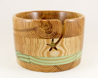 LARGE YARN BOWL, Star Groove, with Green Accent Band, Handcrafted Wood for Knitting or Crochet, #829.