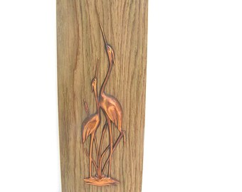 Bird wall hanging Stork wall picture Wildlife wall hanging Soviet vintage natural home decor Wildlife wall picture Soviet home decor
