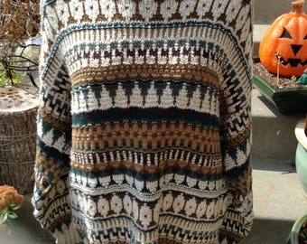 Vintage hipster 80s mens patterned sweater size large free domestic shipping